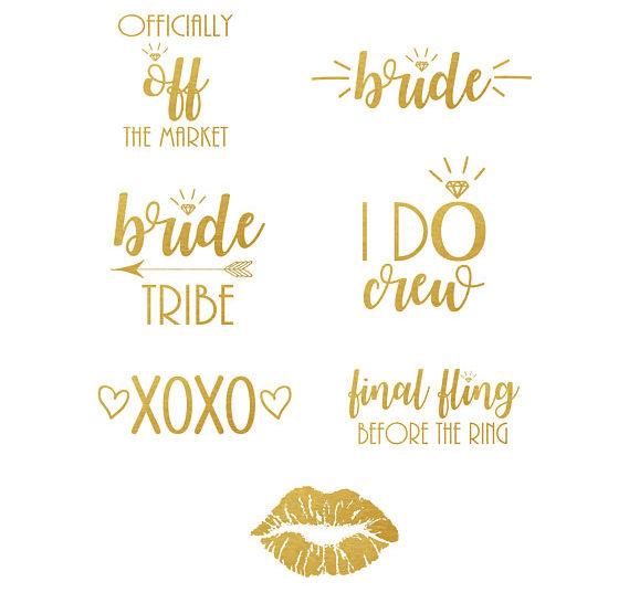 449665e4d gold tattoos bachelorette party bride tribe